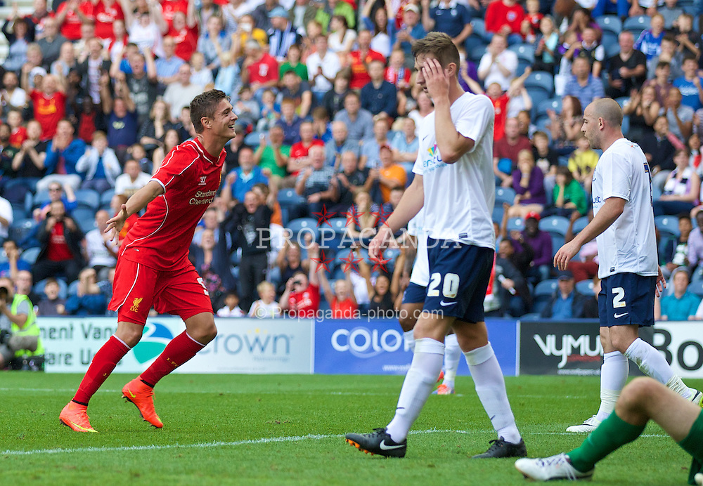 PRESTON, ENGLAND - Saturday, July 19, 2014: Liverpool's Kristoffer Pieterson celebrates scoring the second goal against Preston North End during a preseason friendly match at Deepdale Stadium. (Pic by David Rawcliffe/Propaganda)