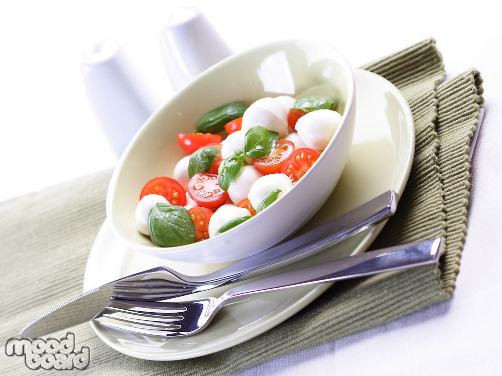 Close  - up of sliced tomatoes with mozarella