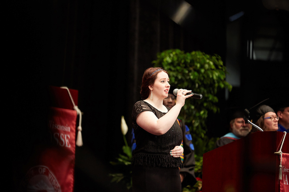 Activity; Graduation; Buildings; La Crosse Center; Location; Inside; People; Student Students; Spring; May; Time/Weather; day; Type of Photography; Candid; UWL UW-L UW-La Crosse University of Wisconsin-La Crosse singing