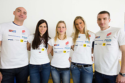 Matija Sestak, Marija Sestak, Marina Tomic, Snezana Rodic and Vid Trsan  at press conference of Slovenian team before departure to Indoor Athletics World Championship in Istanbul, on March 7, 2012 in Ljubljana, Slovenia.  (Photo By Vid Ponikvar / Sportida.com)