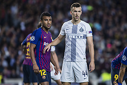 October 24, 2018 - Barcelona, Catalonia, Spain - 12 Rahinha from Brasil of FC Barcelona defended by 44 Persic from Croatia of FC Internazionale Milano during the UEFA Champions League match between FC Barcelona v FC Internazionale Milano at Camp Nou Stadium, in Barcelona on 24 of October, 2018. (Credit Image: © Xavier Bonilla/NurPhoto via ZUMA Press)
