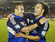 24 May 2003, Eden Park Auckland, Rugby Union, Xtra Super 12 Final, Auckland Blues vs Canterbury Crusaders.<br />Blue's Doug Howlett celebrates with team mate, Rico Gear after the final on Saturday night.<br />Pic: Marty Melville/Photosport