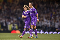 Cristiano Ronaldo of Real Madrid and Luka Modric of Real Madrid celebrate after scoring during the UEFA Champions League Final match between Real Madrid and Juventus at the National Stadium of Wales, Cardiff, Wales on 3 June 2017. Photo by Giuseppe Maffia.<br /> <br /> Giuseppe Maffia/UK Sports Pics Ltd/Alterphotos