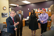 Ohio Attorney General Mike DeWine (Far Left) disucusses the achievements of Ohio University's sexual assault survivor advocacy program with (Center Left to Right) Ohio University President Roderick McDavis, Vice Provost for Diversity and Inclusion Shari Clarke and Women's Center Program Coordinator Sarah Jenkins. Photo by Ben Siegel/ Ohio University.