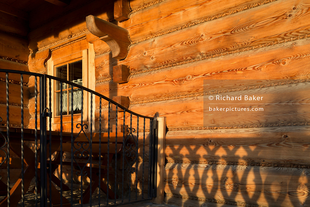 An exterior of the Bocowka restaurant, a traditional mountain log cabin in southern Poland, on 21st September 2019, in Jaworki, near Szczawnica, Malopolska, Poland.