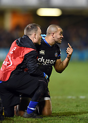Jonathan Joseph of Bath Rugby is treated by medics - Mandatory byline: Patrick Khachfe/JMP - 07966 386802 - 06/12/2019 - RUGBY UNION - The Recreation Ground - Bath, England - Bath Rugby v Clermont Auvergne - Heineken Champions Cup