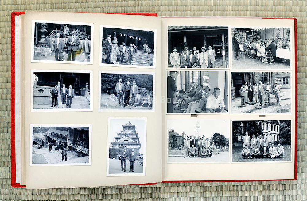 open page of an old family photo album Japan Asia1960s