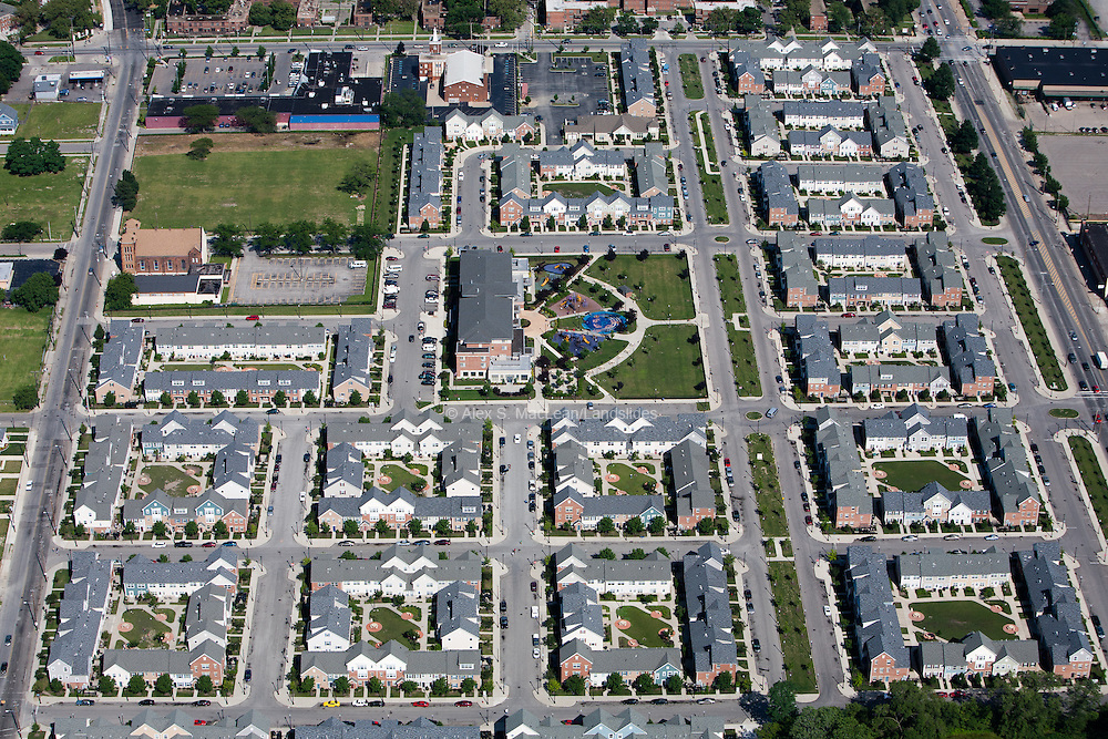 Community living complex Arbor Village in Cleveland, OH; housing squares surround a community cetner; complez is several miles from the shores of Lake Erie.