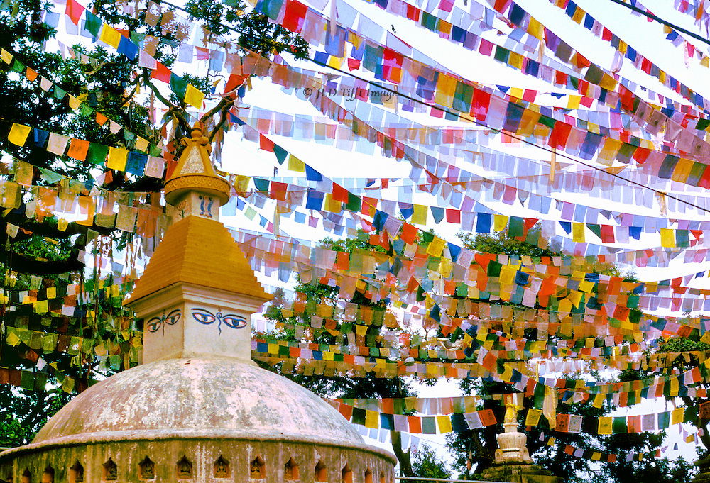 Kathmandu, Swayambhunath Stupa, monkey temple festooned with prayer flags for Dasain festival.  Multiple strings of multi-colored flags weave a thick fabric against the sky.