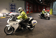 Motorcycle police officers during the Breast Cancer Care International Friendly match at Wembley Stadium, London<br /> Picture by Daniel Hambury/Focus Images Ltd +44 7813 022858<br /> 17/11/2015