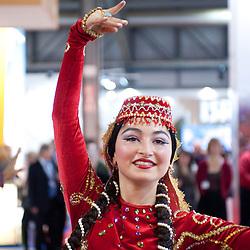 Milan, Italy - February  17: Azerbaijan dancer at BIT International Tourism Exchange on february 17, 2012 in Milan, Italy.