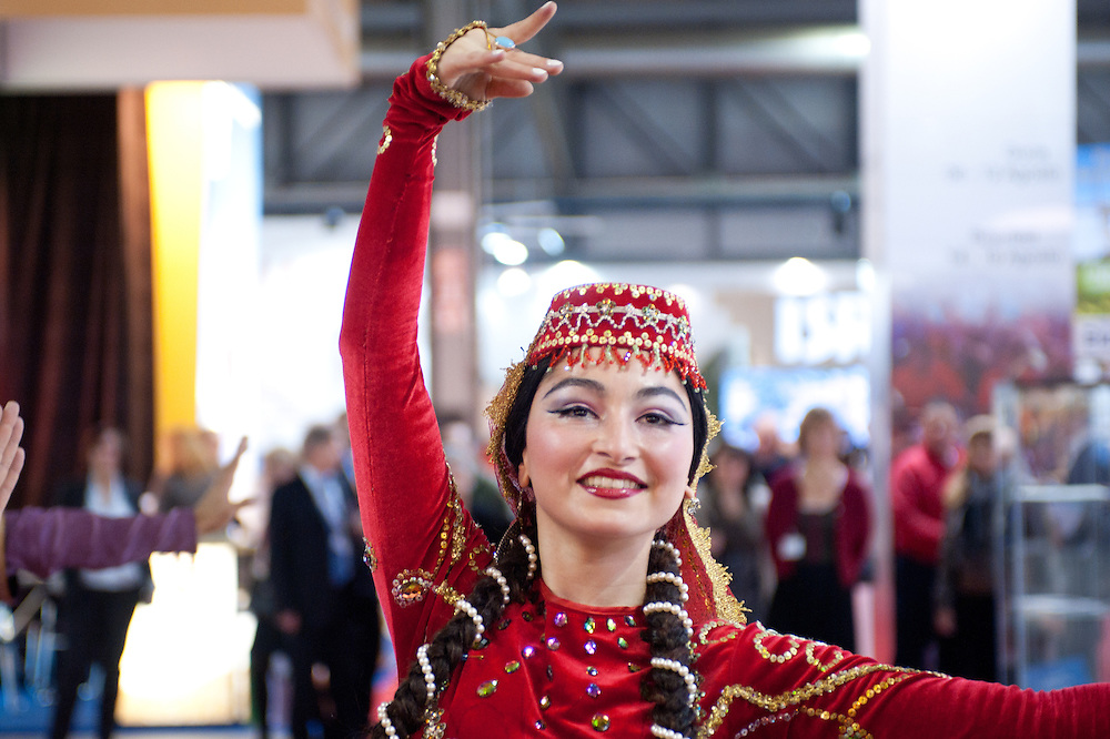Milan, Italy - February  17: Azerbaijan dancer at BIT International Tourism Exchange on february 17, 2012 in Milan, Italy.