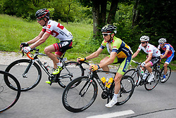 Jure Golcer (SLO) of Tirol Cycling Team and Tadej Valjavec (SLO) of Sava during Stage 3 from Skofja Loka to Vrsic (170 km) of cycling race 20th Tour de Slovenie 2013,  on June 15, 2013 in Slovenia. (Photo By Vid Ponikvar / Sportida)