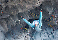 Kirsten Buchmann of Austria searches for a hold during the Ouray Ice Festival Mixed Route Competition in Ouray Saturday. Twenty three climbers competed against each other for a $1,000 prize.