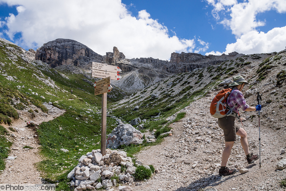 A hiker ascends steeply up the pass of Furcela Forces De Sieles (Forcella Forces de Sielles), in the Puez Group, Dolomites, South Tyrol, Italy, Europe. The beautiful ski resort of Selva di Val Gardena (German: Wolkenstein in Gröden; Ladin: Sëlva Gherdëine) makes a great hiking base in the Trentino-Alto Adige/Südtirol (South Tyrol) region of Italy. For our favorite hike in the Dolomiti, start from Selva with the first morning bus to Ortisei, take the Seceda lift, admire great views up at the cross on the edge of Val di Funes (Villnöss), then walk 12 miles (2000 feet up, 5000 feet down) via the steep pass Furcela Forces De Sieles (Forcella Forces de Sielles) to beautiful Vallunga (trail #2 to 16), finishing where you started in Selva. The hike traverses the Geisler/Odle and Puez Groups from verdant pastures to alpine wonders, all preserved in a vast Nature Park: Parco Naturale Puez-Odle (German: Naturpark Puez-Geisler; Ladin: Parch Natural Pöz-Odles), including the deeply glaciated U-shaped valley of Vallunga (Langental). UNESCO honored the Dolomites as a natural World Heritage Site in 2009.