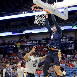 Oct 5, 2019; New Orleans, LA, USA; New Orleans Pelicans center Jaxson Hayes (10) dunks over guard E'Twaun Moore (55) during a open practice at the Smoothie King Center. Mandatory Credit: Derick E. Hingle-USA TODAY Sports