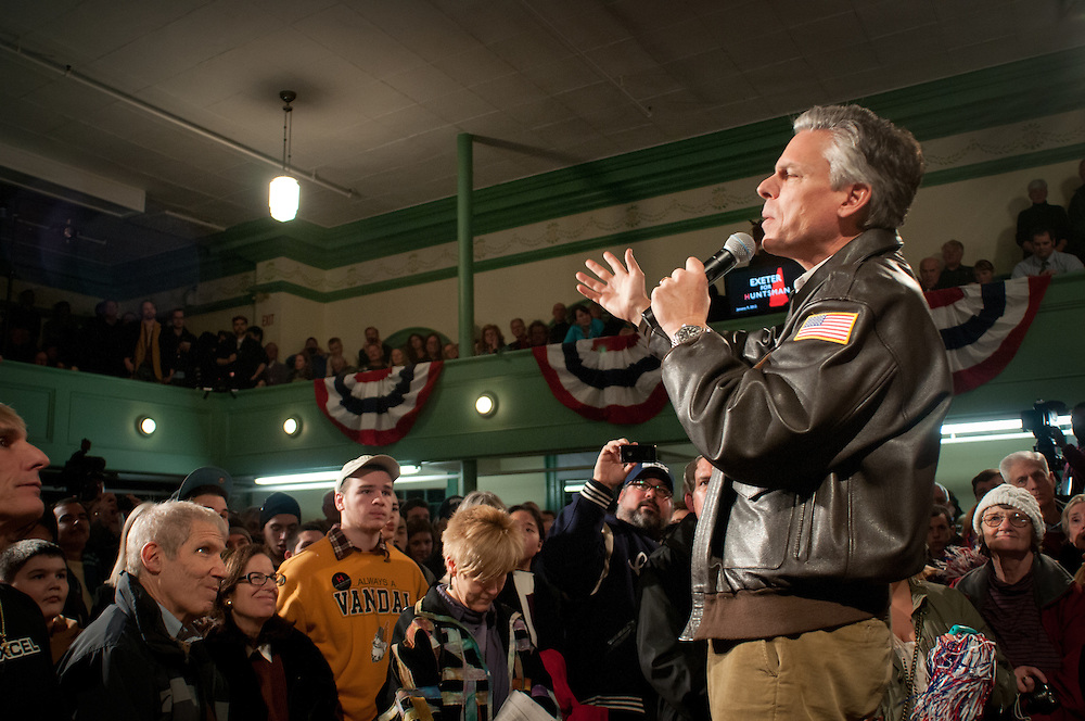 Republican Presidential hopeful former Utah Gov. Jon Huntsman holds his last town hall event where he kicked off his campaign. It was Huntsman's 170th event on the eve of the NH Primary. Exeter Town Hall in Exeter, New Hampshire.