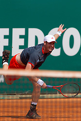 ATP Monte Carlo Rolex Masters 2012 3rd Round..19-04-12...Scotland's Andy Murray, Andy Murray (GBR) in action during the second round match between Andy Murray (GBR) and Julien Benneteau (FRA) at the ATP Monte Carlo Masters tennis tournament held in the Monte Carlo Country Club, Monaco...At Monte Carlo, Monaco..Thursday 19th April 2012.Picture Mitchell Gunn/ Prolens Photo Agency / PLPA