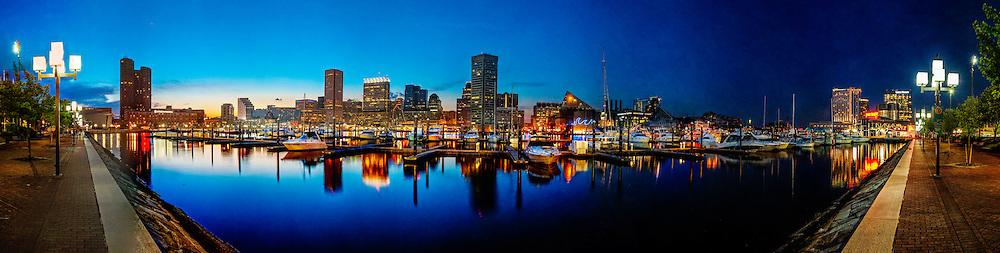 Baltimore Maryland inner harbor sunset panorama