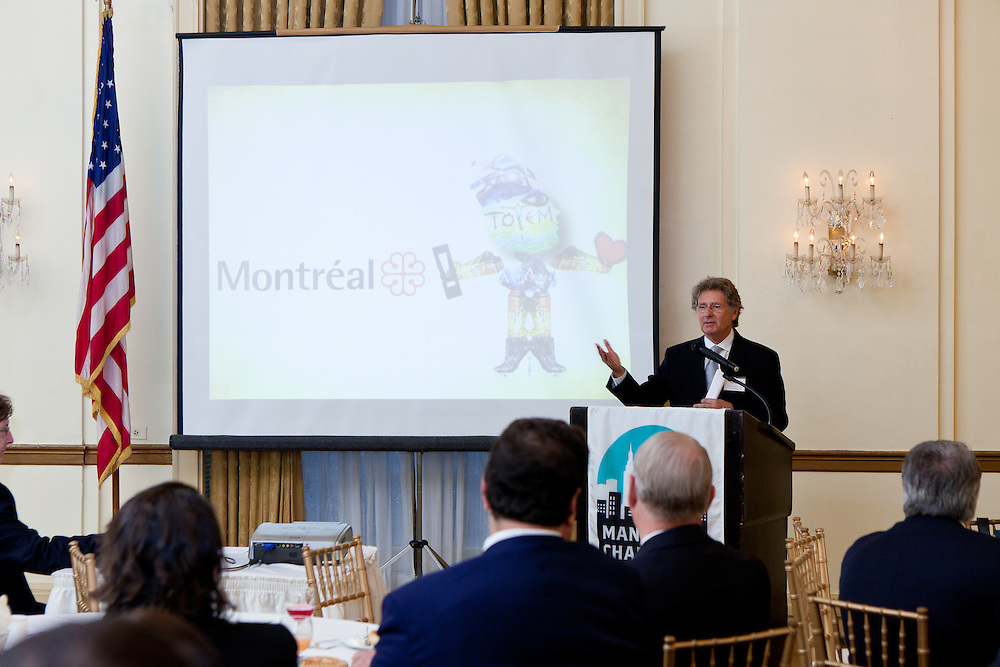 Montreal: Collaborative Ways of Doing Creative Business. Jeffrey Bernstein, hosts the Manhattan Chamber of Commerce's Chairman's Breakfast for Gerald Tremblay, Mayor of Montreal, John Parisella, Delegate General of Quebec in New York. Participating in the meeting were MCC partners, corporate members, Montreal business leaders and members of the New York business community. Photographed by Jeffrey Holmes, MCC Photographer at the 3 West Club in New York City.