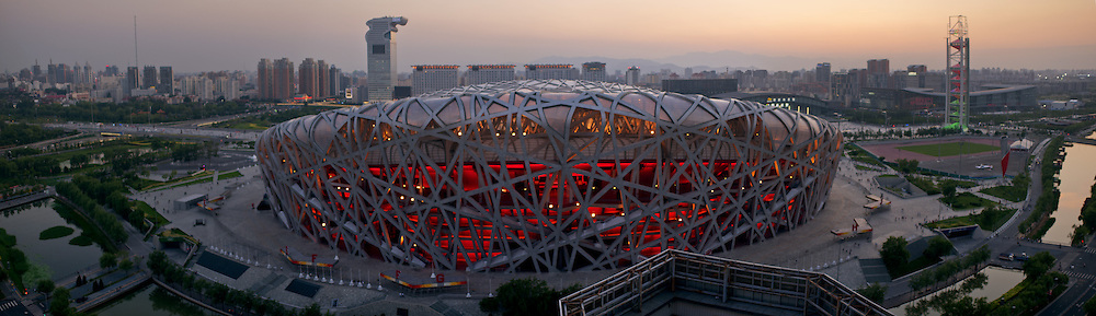 Panoramic view of the Bird Nest olympic stadium at sunset in Beijing, China