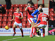 Callum Camps, louis Thompson during the Sky Bet League 1 match between Swindon Town and Rochdale at the County Ground, Swindon, England on 12 December 2015. Photo by Daniel Youngs.