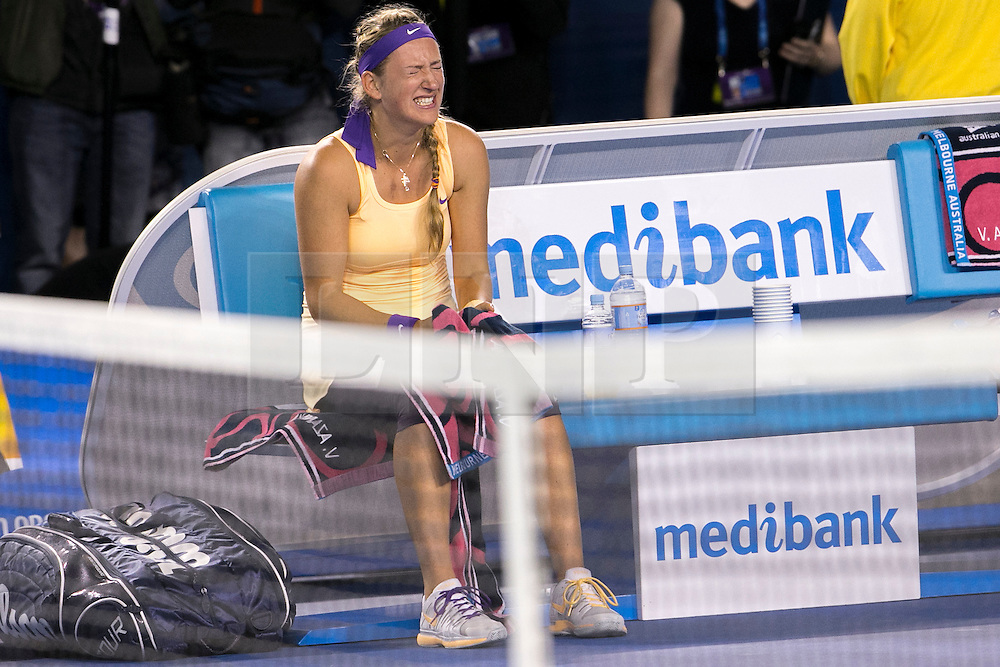 © Licensed to London News Pictures. 26/01/2013. Melbourne Park, Australia. Victoria Azarenka cries after winning during the Womens Final between Victoria Azarenka and Li Na of the Australian Open. Photo credit : Asanka Brendon Ratnayake/LNP