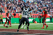 Touchdown, Carolina Panthers Wide Receiver Curtis Samuel (10) celebrates during the International Series match between Tampa Bay Buccaneers and Carolina Panthers at Tottenham Hotspur Stadium, London, United Kingdom on 13 October 2019.