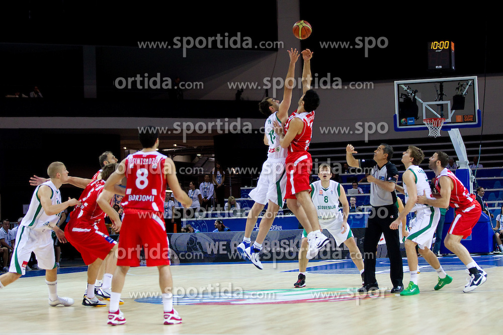 Mirza Begic of Slovenia vs Zaza Pachulia of Georgia during basketball match between National teams of Slovenia and Georgia in Group D of Preliminary Round of Eurobasket Lithuania 2011, on September 3, 2011, in Arena Svyturio, Klaipeda, Lithuania. (Photo by Vid Ponikvar / Sportida)