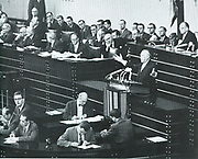 Session of the German Parliament in 1955, addressed by Konrad Adenauer (1876?1967). German statesman. first Chancellor of West Germany from 1949?1963 and chairman of the Christian Democratic Union from 1950 to 1966.
