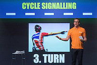LONDON UK 28TH JULY 2016:  Roland Kemp . The Prudential RideLondon Cycling Show at the Excel Centre. Prudential RideLondon in London 29th July 2016<br /> <br /> Photo: Neil Turner/Silverhub for Prudential RideLondon<br /> <br /> Prudential RideLondon is the world's greatest festival of cycling, involving 95,000+ cyclists – from Olympic champions to a free family fun ride - riding in events over closed roads in London and Surrey over the weekend of 29th to 31st July 2016. <br /> <br /> See www.PrudentialRideLondon.co.uk for more.<br /> <br /> For further information: media@londonmarathonevents.co.uk