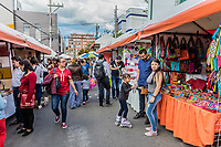 Bogota, Colombia  - February 6, 2017 : People shopping at Mercado de las Pulgas de Usaquen free market  in Bogota capital city of Colombia South America