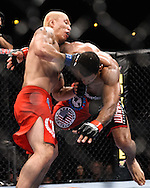 "ATLANTA, GEORGIA, SEPTEMBER 6, 2008: Ryo Chonan (left) stuffs a takedown attempt by Roan Carneiro during ""UFC 88: Breakthrough"" inside Philips Arena in Atlanta, Georgia on September 6, 2008"