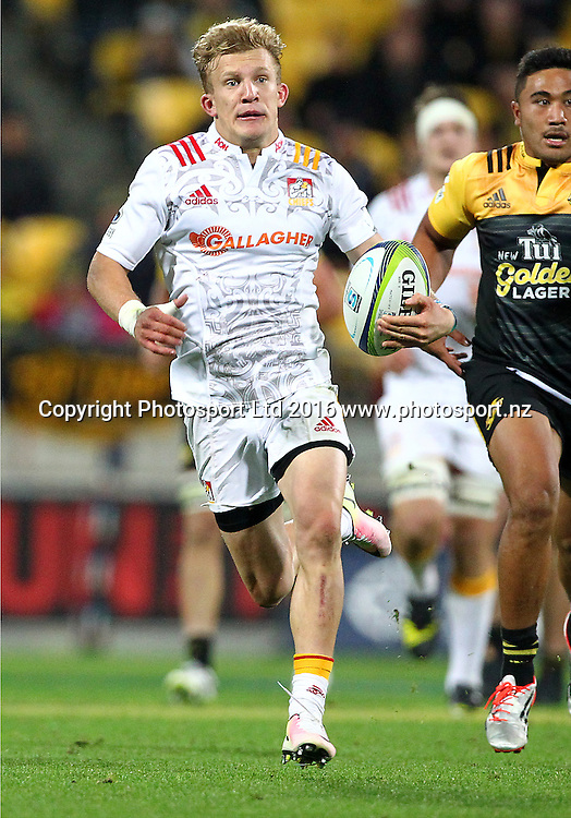 Chiefs' Damian McKenzie during the Round 9 Super Rugby match, Hurricanes v Chiefs at Westpac Stadium, Wellington. 23rd April 2016. Copyright Photo.: Grant Down / www.photosport.nz
