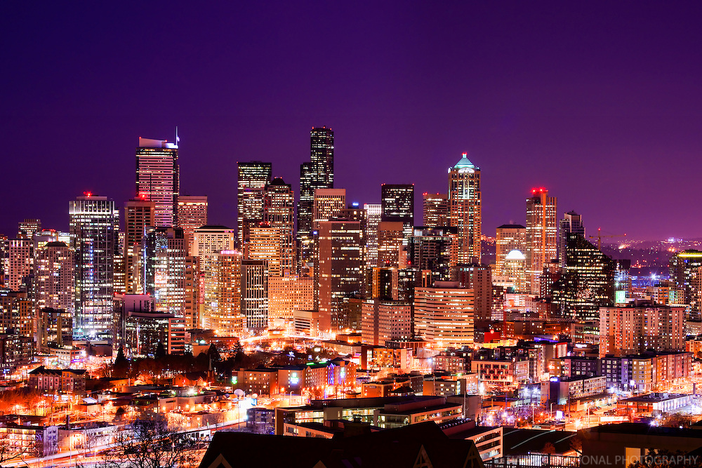Seattle Skyline in Violet