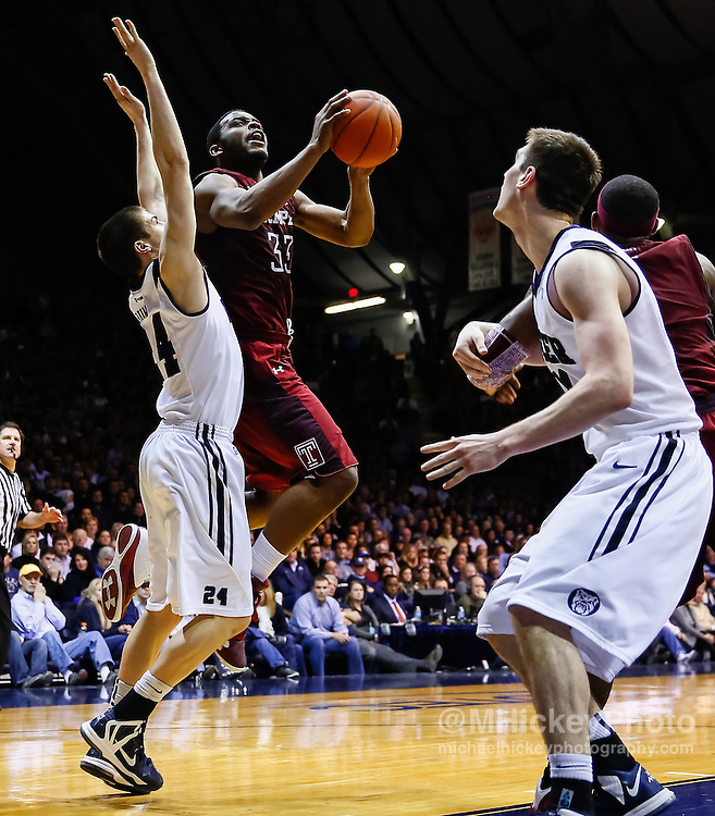 INDIANAPOLIS, IN - JANUARY 26: Scootie Randall #33 of the Temple Owls goes up for a shot as Kellen Dunham #24 of the Butler Bulldogs and Andrew Smith #44 of the Butler Bulldogs defend at Hinkle Fieldhouse on January 26, 2013 in Indianapolis, Indiana. Butler defeated Temple 83-71. (Photo by Michael Hickey/Getty Images) *** Local Caption *** Scootie Randall; Kellen Dunham; Andrew Smith