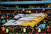 The Wolves fans display a tribute banner for Wolverhampton Wanderers goalkeeper Carl Ikeme (1) during the EFL Sky Bet Championship match between Aston Villa and Wolverhampton Wanderers at Villa Park, Birmingham, England on 10 March 2018. Picture by Dennis Goodwin.