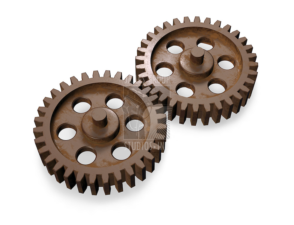 3d concept art showing two equal weathered gears working together.