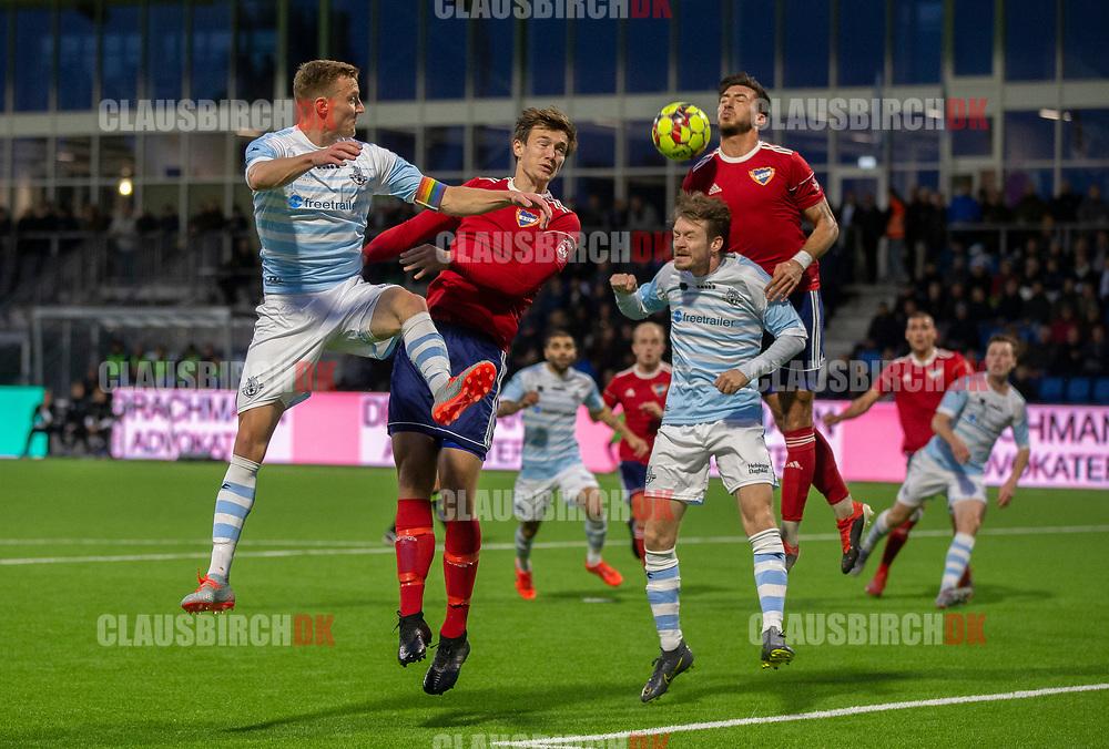 Andreas Holm og Nikolaj S. Hansen (FC Helsingør) under kampen i 2. Division mellem FC Helsingør og B.93 den 20. september 2019 på Helsingør Ny Stadion (Foto: Claus Birch).