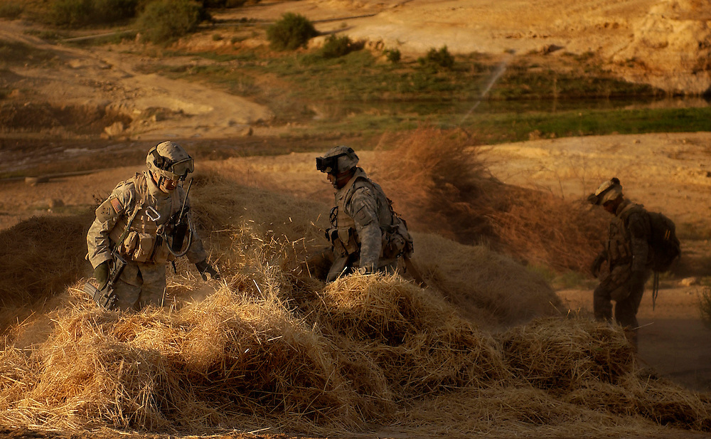 Soldiers search everything for weapons cache and people that oppose coalition forces.