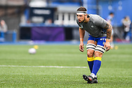 Cardiff Blues' Josh Turnbull during the pre match warm up<br /> <br /> Photographer Craig Thomas/Replay Images<br /> <br /> European Rugby Challenge Cup Round Semi final - Cardiff Blues v Pau - Saturday 21st April 2018 - Cardiff Arms Park - Cardiff<br /> <br /> World Copyright © Replay Images . All rights reserved. info@replayimages.co.uk - http://replayimages.co.uk