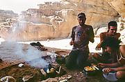 people cooking and eating food, Middle East Tek, Wadi Rum, Jordan, 2008