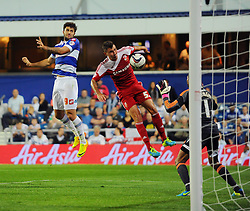 Queen Park Rangers' Charlie Austin scores but the goal is ruled out for offside  - Photo mandatory by-line: Seb Daly/JMP - Tel: Mobile: 07966 386802 27/08/2013 - SPORT - FOOTBALL - Loftus Road - London - Queens Park Rangers V Swindon Town -  Capital One Cup - Round 2