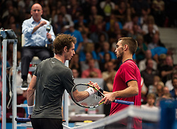 18.10.2014, Stadthalle, Wien, AUT, ATP Tour, Erste Bank Open 2014, Halbfinale, im Bild v.l. Andy Murray (GBR) und Viktor Troicki (SRB) // Andy Murray of Great Britain and Viktor Troicki of Serbia during the semi-final match of Erste Bank Open of ATP Tour at the Stadthalle in Wien, Austria on 2014/10/18. EXPA Pictures © 2014, PhotoCredit: EXPA/ Michael Gruber