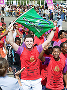 Rory Nelson  from Galway  finishes the 2012 CBE Great Ethiopian  Run (the Biggest road race in Africa with over 36,000 participants). Rory and 15 other irish people raised thousands of Euro  for Self Help Africa to continue development programmes in  Africa. Photo:Andrew Downes.