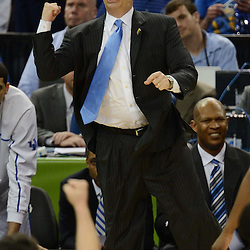 Mar 31, 2012; New Orleans, LA, USA; Kentucky Wildcats head coach John Calipari reacts during the first half against the Louisville Cardinals in the semifinals of the 2012 NCAA men's basketball Final Four at the Mercedes-Benz Superdome. Mandatory Credit: Derick E. Hingle-US PRESSWIRE