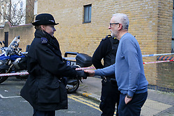 © Licensed to London News Pictures. 04/01/2020. London, UK. Leader of Labour Party, JEREMY CORBYN meets the police officers at the crime scene in Finsbury Park. Police launch a murder investigation following a death of a man in his 30s on Friday 3 January 2020. Police were called at approximately 6.50pm to reports of a man stabbed and the he was pronounced dead at the scene just after 7.30pm.  Photo credit: Dinendra Haria/LNP