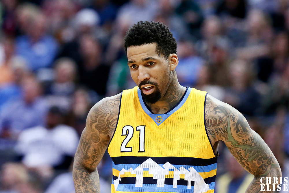 10 March 2017: Denver Nuggets forward Wilson Chandler (21) rests during the Denver Nuggets 119-99 victory over the Boston Celtics, at the Pepsi Center, Denver, Colorado, USA.
