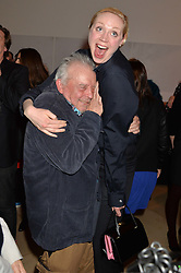 DAVID BAILEY and GWENDOLINE CHRISTIE at a private view of photographs by David Bailey entitled 'Bailey's Stardust' at the National Portrait Gallery, St.Martin's Place, London on 3rd February 2014.