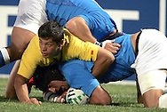 Marseille, FRANCE - 12th September 2007, Carlo Festuccia of Italy scores a try during the Rugby World Cup, pool C, match between Italy and Romania held at the Stade Velodrome in Marseille, France...Photo: Ron Gaunt/ Sportzpics
